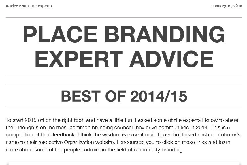 Place branding expert advice free ebook by Ed Burghard