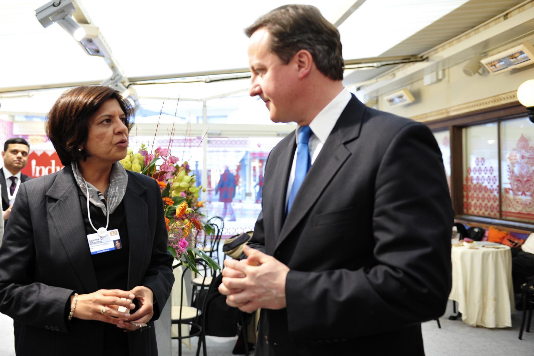 Aparna Sharma with UK Prime Minister David Cameron
