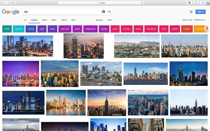 City Google search result