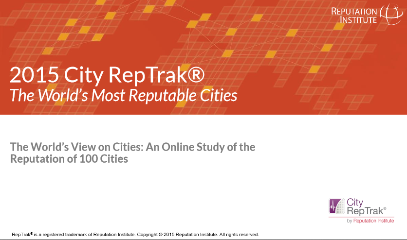 City RepTrak Reputation Ranking 2015 - Reputation Institute