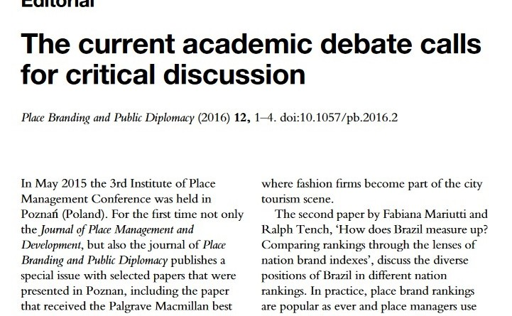 Editorial Academic Debate on Place Branding