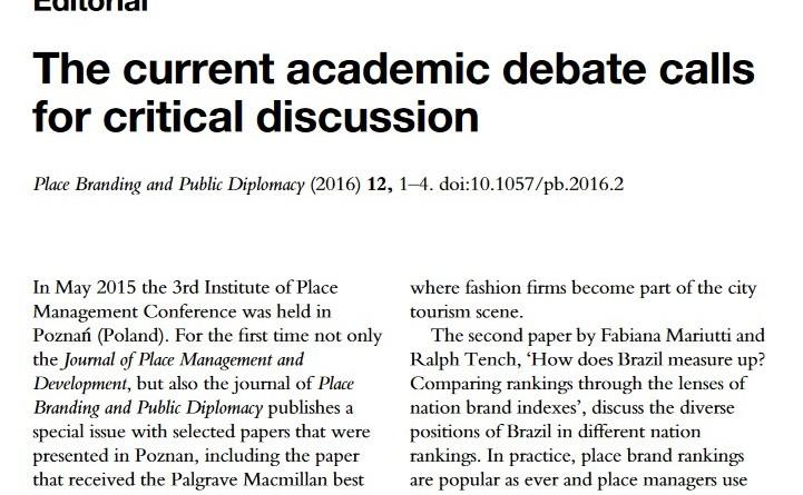 Editorial Academic Debate on Place Branding