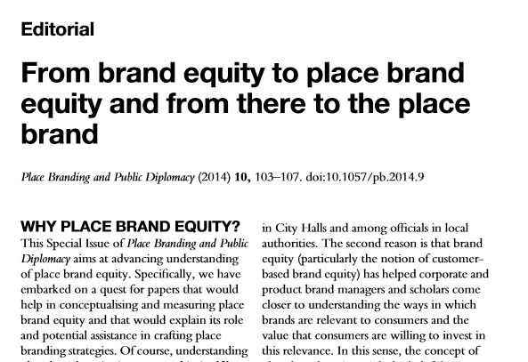 Editorial on place brand equity - magdalena florek, mihalis kavaratzis
