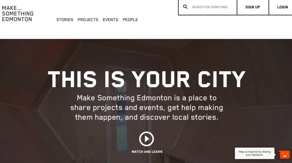 "Toma de pantalla del website ""Make something Edmonton"""