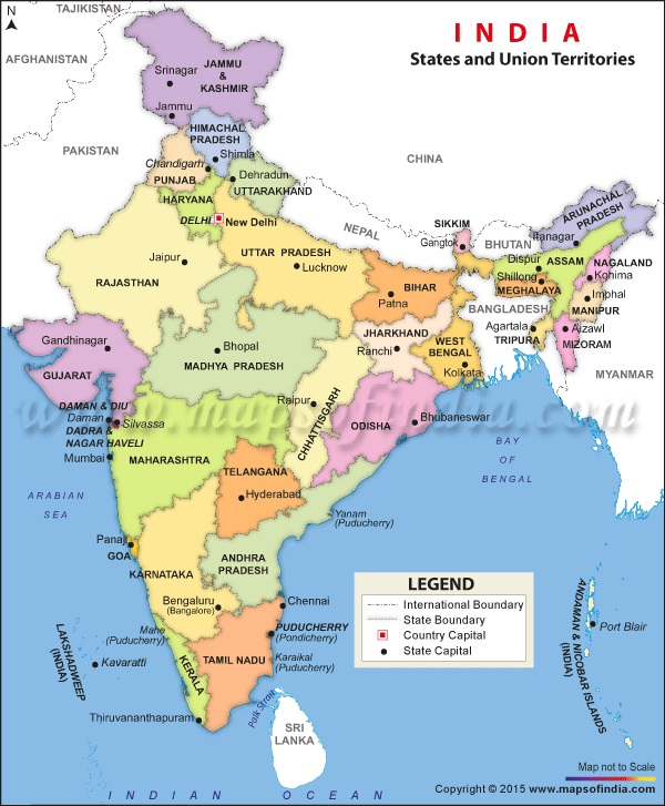 India Political Map - Regions and States