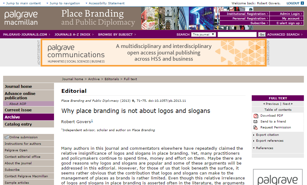 Journal of Place Branding and Public Diplomacy