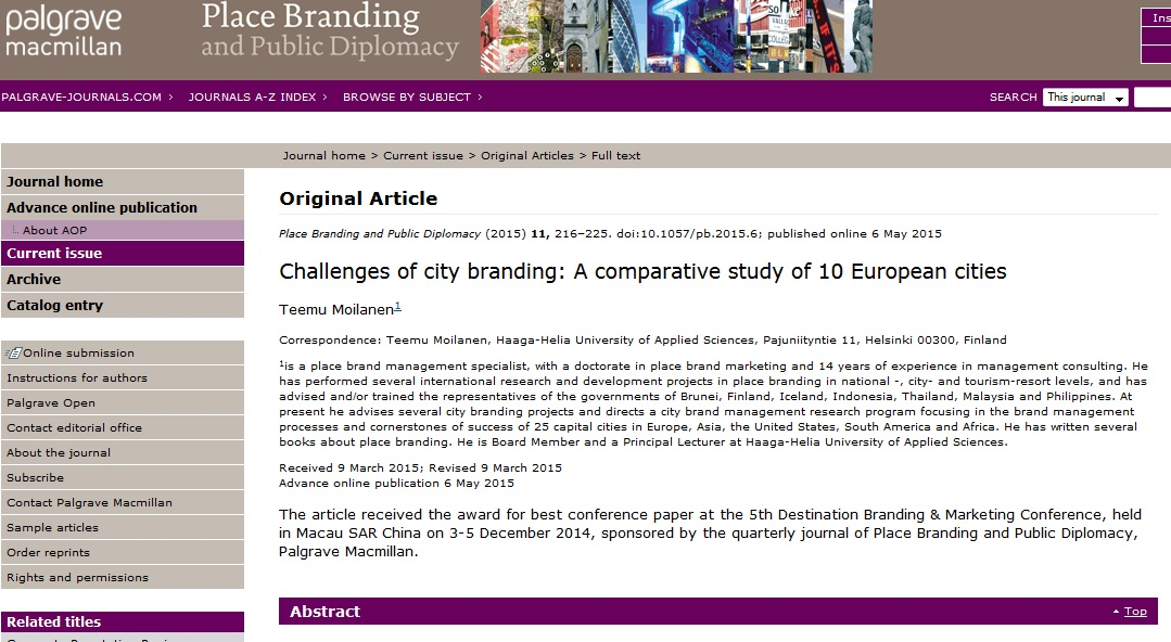 Key city branding challenges in Europe - research insights
