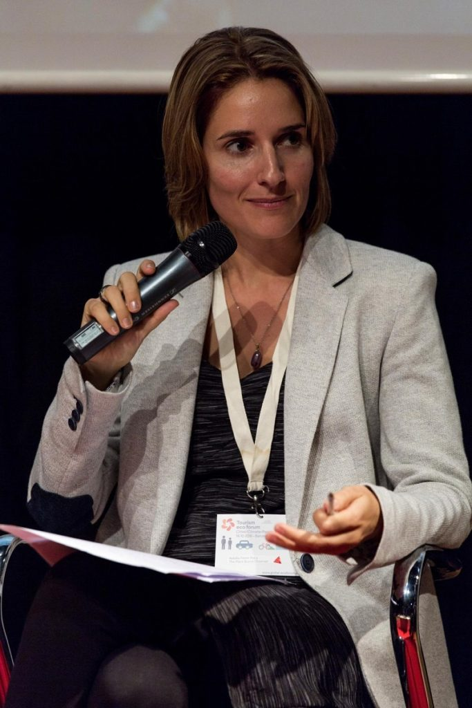 Natalia Ferrer Roca moderating at Tourism Eco Forum Barcelona
