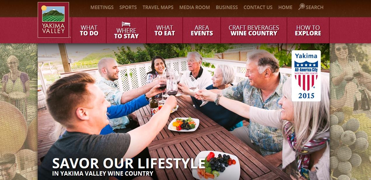 Screenshot Yakima Valley Tourism website