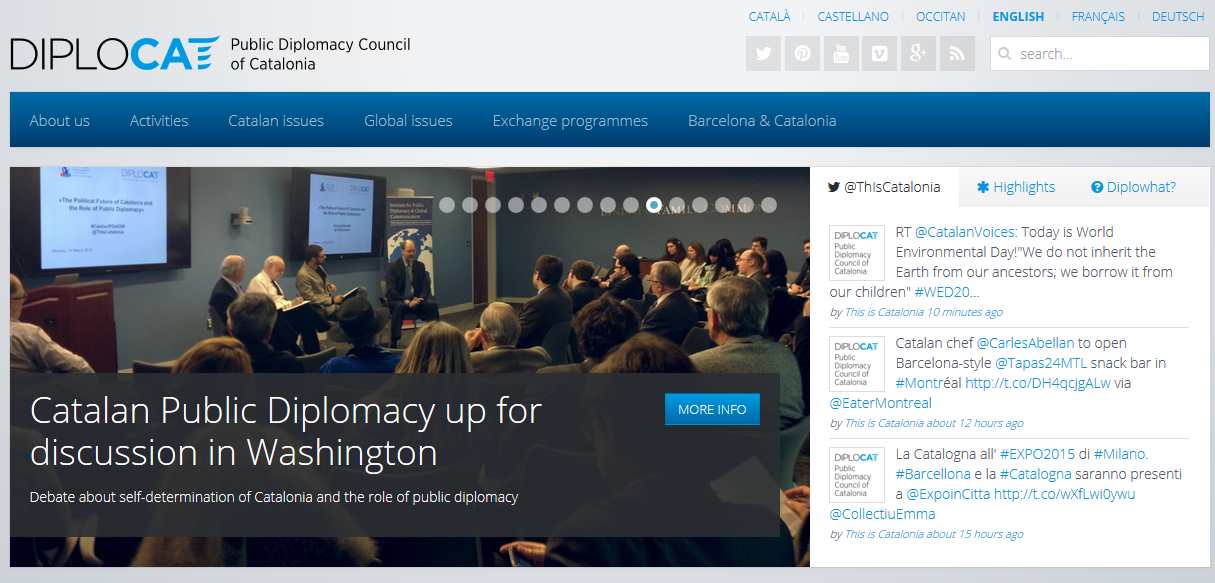 Screenshot of Public Diplomacy Council of Catalonia Website, DIPLOCAT