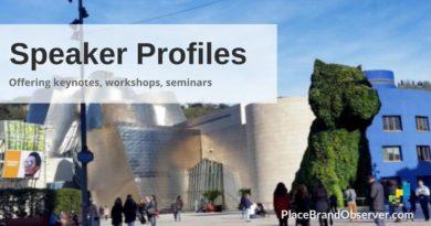 Speaker profiles of place brand experts offering keynotes, workshops, seminars