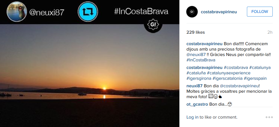 destination branding Costa Brava - Instagram